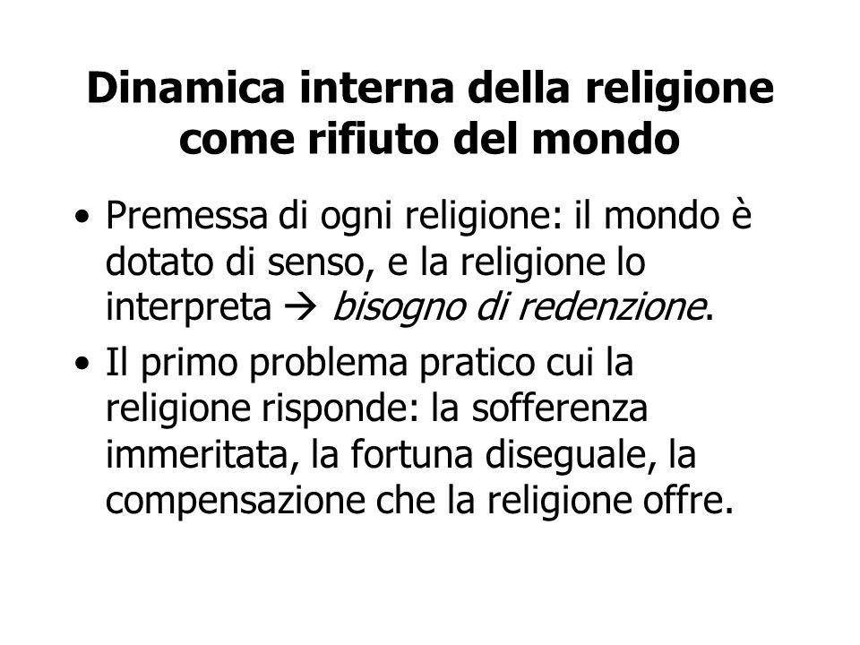 Dinamica interna della religione come rifiuto del mondo Premessa di ogni religione: il mondo è dotato di senso, e la religione lo interpreta  bisogno