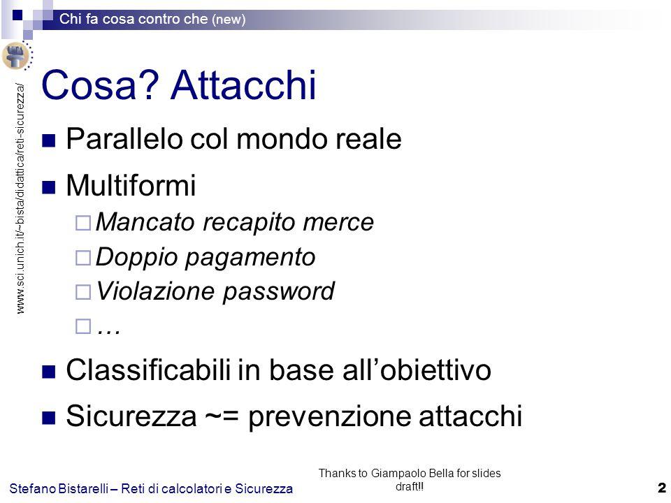 www.sci.unich.it/~bista/didattica/reti-sicurezza/ Chi fa cosa contro che (new) 3 Stefano Bistarelli – Reti di calcolatori e Sicurezza Thanks to Giampaolo Bella for slides draft!.
