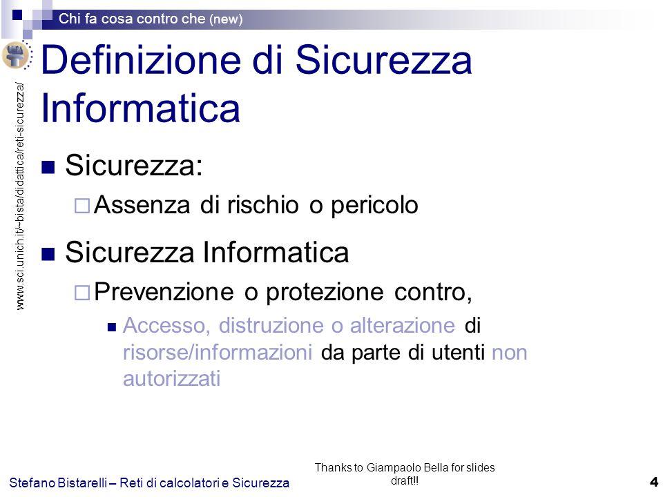 www.sci.unich.it/~bista/didattica/reti-sicurezza/ Chi fa cosa contro che (new) 5 Stefano Bistarelli – Reti di calcolatori e Sicurezza Thanks to Giampaolo Bella for slides draft!.