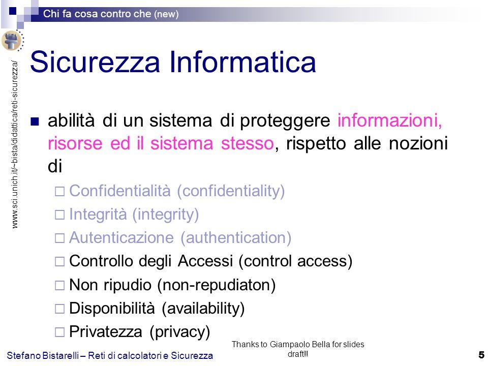 www.sci.unich.it/~bista/didattica/reti-sicurezza/ Chi fa cosa contro che (new) 16 Stefano Bistarelli – Reti di calcolatori e Sicurezza Thanks to Giampaolo Bella for slides draft!.
