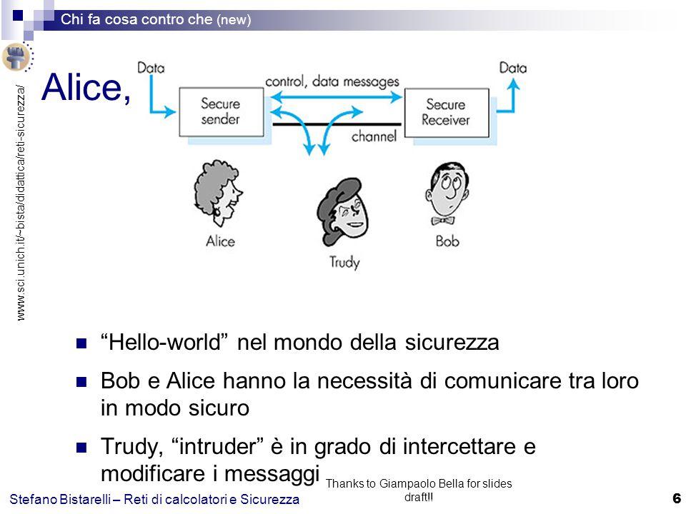 www.sci.unich.it/~bista/didattica/reti-sicurezza/ Chi fa cosa contro che (new) 17 Stefano Bistarelli – Reti di calcolatori e Sicurezza Thanks to Giampaolo Bella for slides draft!.