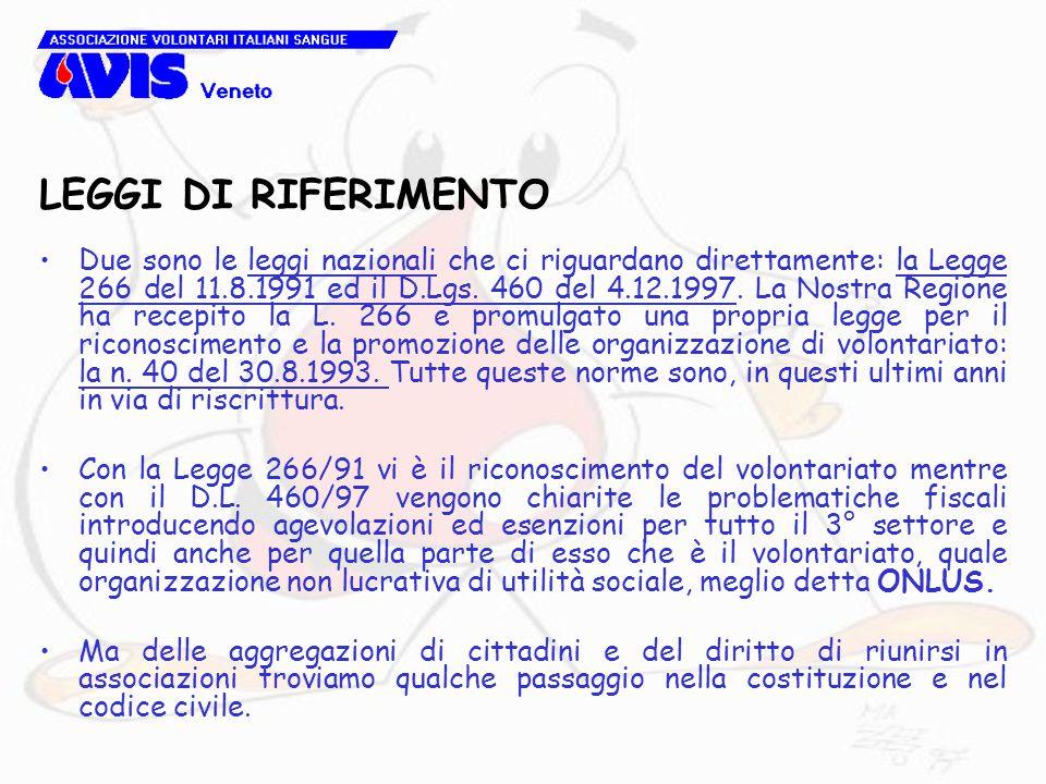 LEGGI DI RIFERIMENTO Due sono le leggi nazionali che ci riguardano direttamente: la Legge 266 del 11.8.1991 ed il D.Lgs. 460 del 4.12.1997. La Nostra