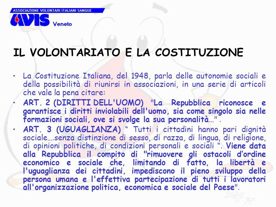La Costituzione Italiana, del 1948, parla delle autonomie sociali e della possibilità di riunirsi in associazioni, in una serie di articoli che vale la pena citare: ART.