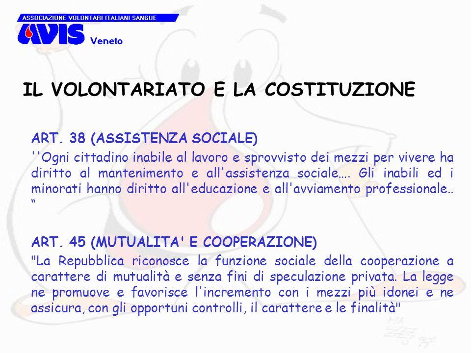 ART. 38 (ASSISTENZA SOCIALE) ''Ogni cittadino inabile al lavoro e sprovvisto dei mezzi per vivere ha diritto al mantenimento e all'assistenza sociale…