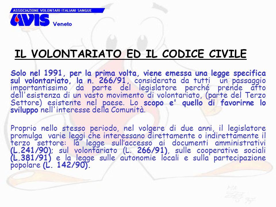 Solo nel 1991, per la prima volta, viene emessa una legge specifica sul volontariato, la n.
