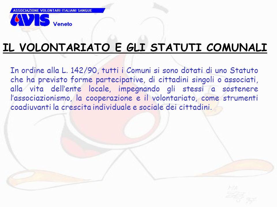 In ordine alla L. 142/90, tutti i Comuni si sono dotati di uno Statuto che ha previsto forme partecipative, di cittadini singoli o associati, alla vit