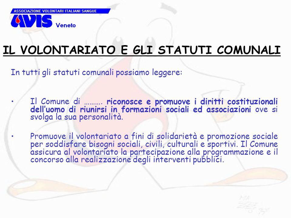 In tutti gli statuti comunali possiamo leggere: Il Comune di ………. riconosce e promuove i diritti costituzionali dell'uomo di riunirsi in formazioni so