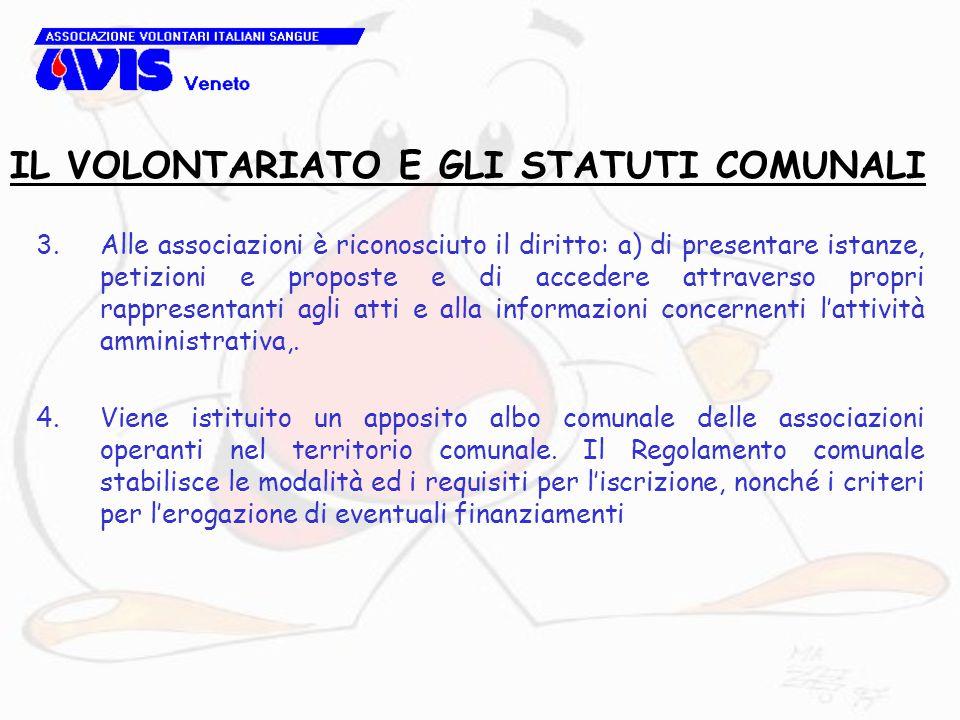3.Alle associazioni è riconosciuto il diritto: a) di presentare istanze, petizioni e proposte e di accedere attraverso propri rappresentanti agli atti