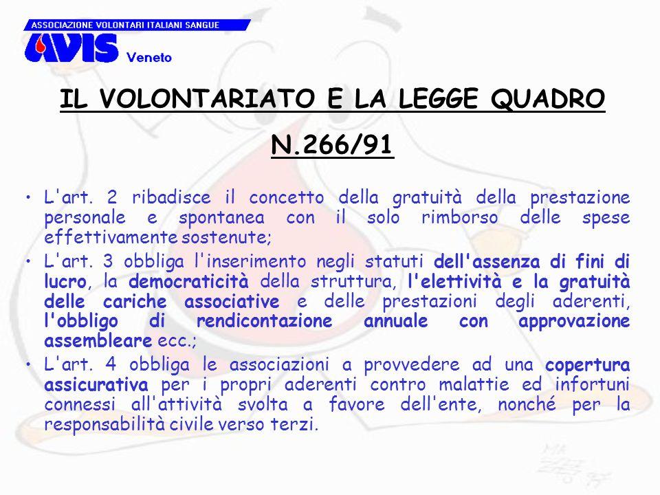 L'art. 2 ribadisce il concetto della gratuità della prestazione personale e spontanea con il solo rimborso delle spese effettivamente sostenute; L'art