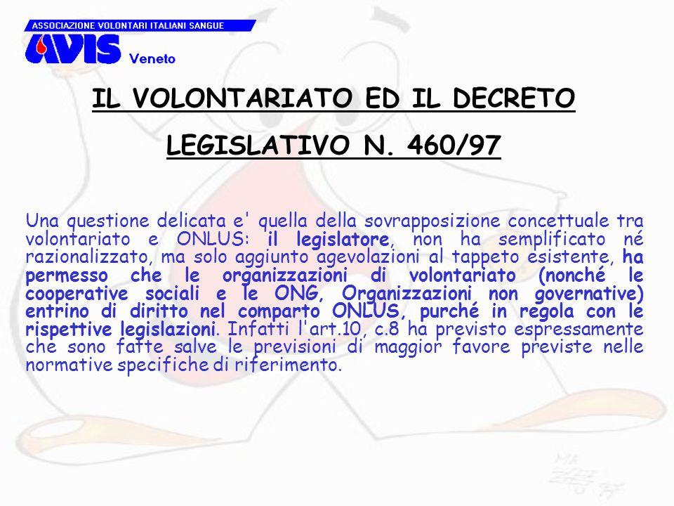Una questione delicata e' quella della sovrapposizione concettuale tra volontariato e ONLUS: il legislatore, non ha semplificato né razionalizzato, ma