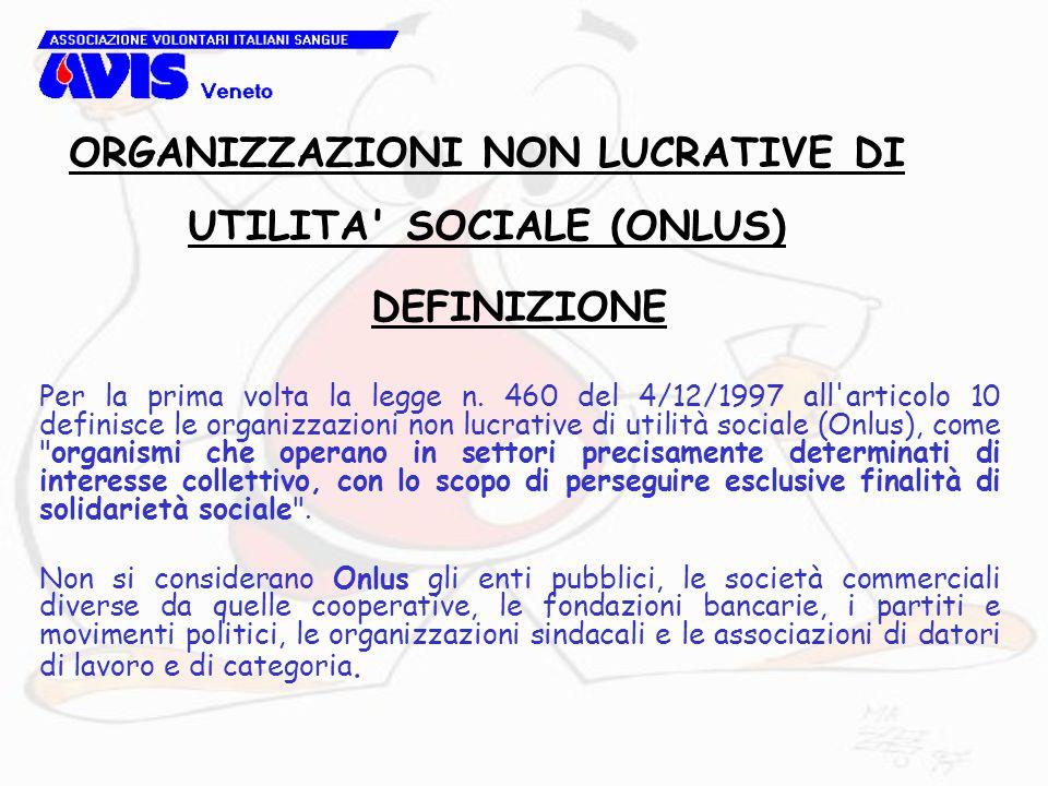 DEFINIZIONE Per la prima volta la legge n. 460 del 4/12/1997 all'articolo 10 definisce le organizzazioni non lucrative di utilità sociale (Onlus), com