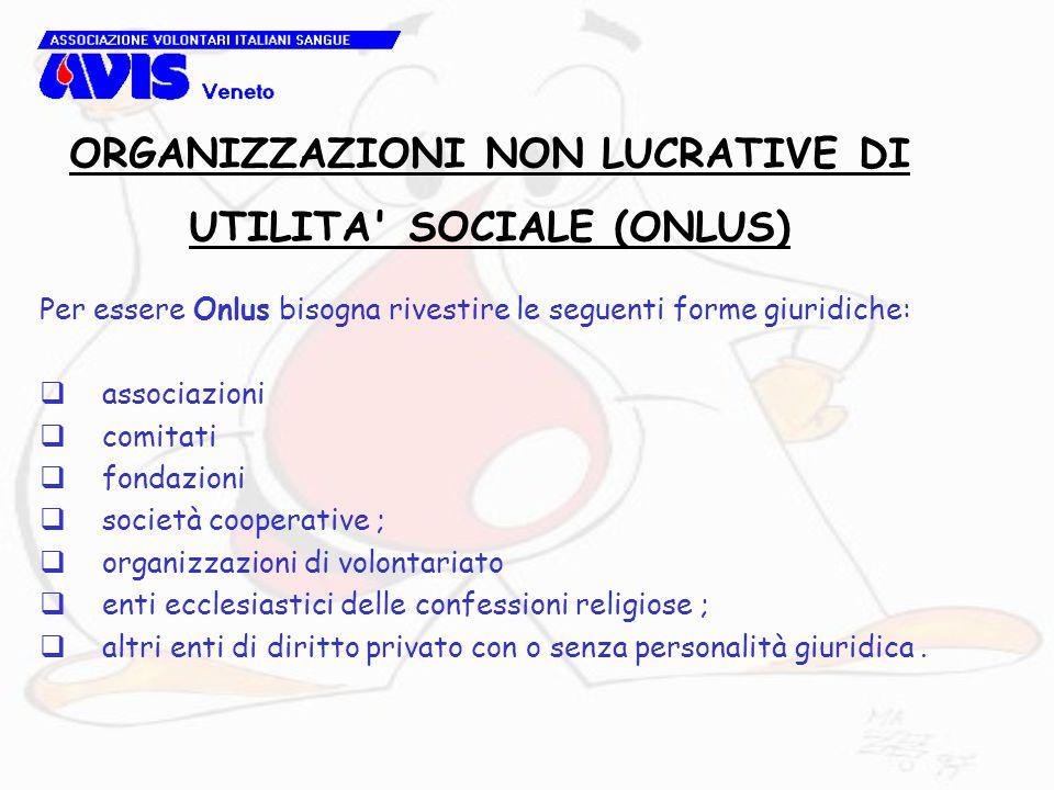 Per essere Onlus bisogna rivestire le seguenti forme giuridiche:  associazioni  comitati  fondazioni  società cooperative ;  organizzazioni di vo