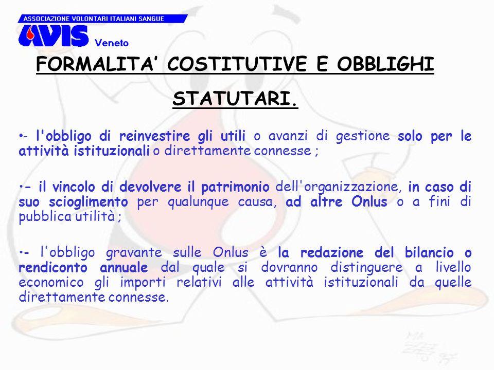 - l'obbligo di reinvestire gli utili o avanzi di gestione solo per le attività istituzionali o direttamente connesse ; - il vincolo di devolvere il pa