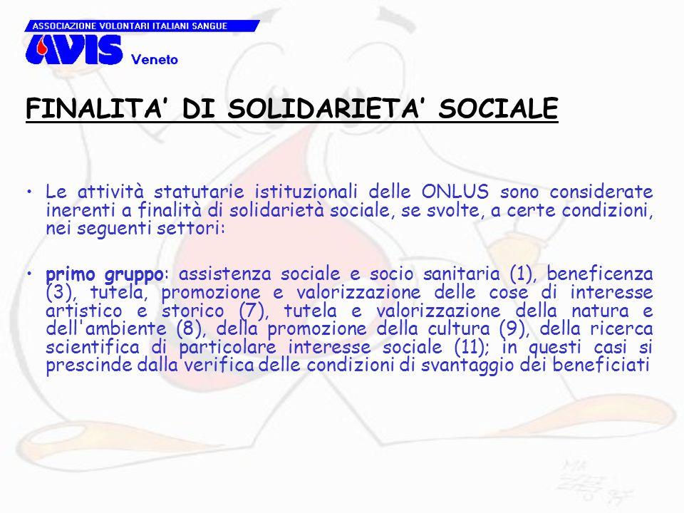 Le attività statutarie istituzionali delle ONLUS sono considerate inerenti a finalità di solidarietà sociale, se svolte, a certe condizioni, nei segue