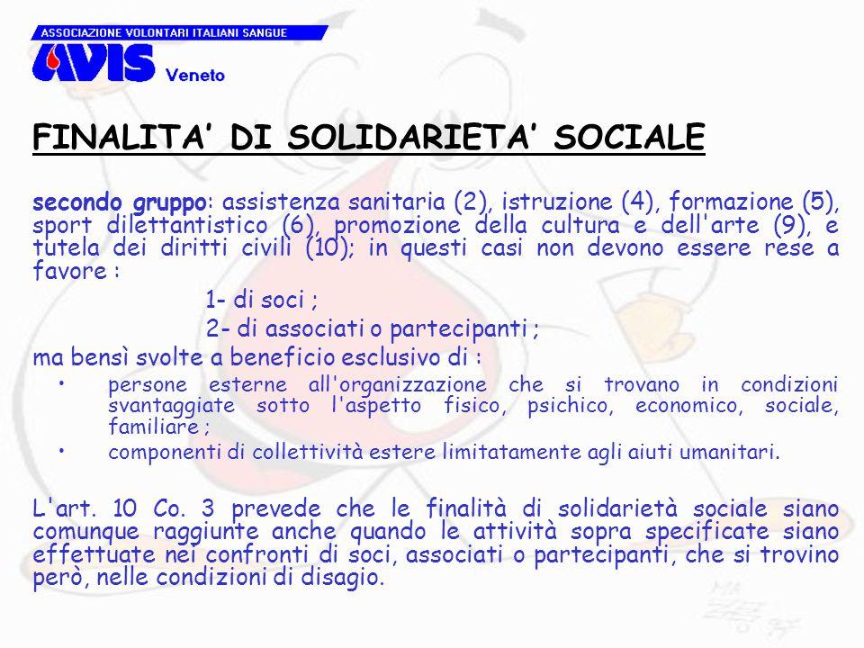 secondo gruppo: assistenza sanitaria (2), istruzione (4), formazione (5), sport dilettantistico (6), promozione della cultura e dell'arte (9), e tutel