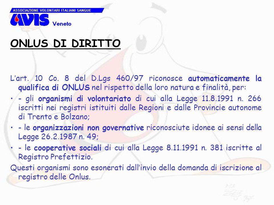 L'art. 10 Co. 8 del D.Lgs 460/97 riconosce automaticamente la qualifica di ONLUS nel rispetto della loro natura e finalità, per: - gli organismi di vo