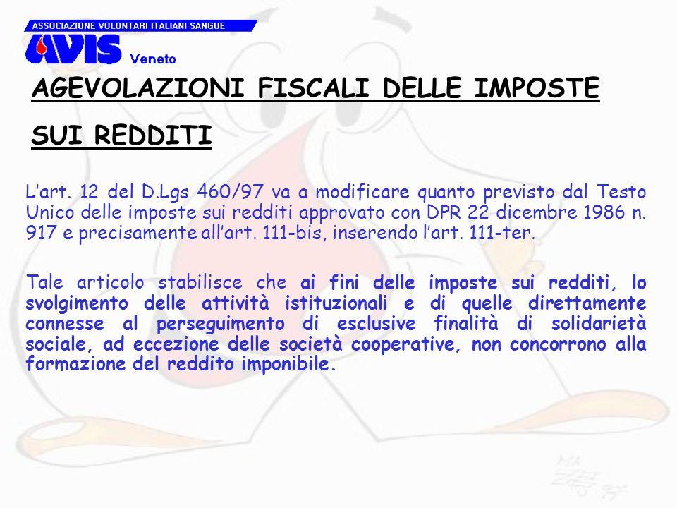 L'art. 12 del D.Lgs 460/97 va a modificare quanto previsto dal Testo Unico delle imposte sui redditi approvato con DPR 22 dicembre 1986 n. 917 e preci