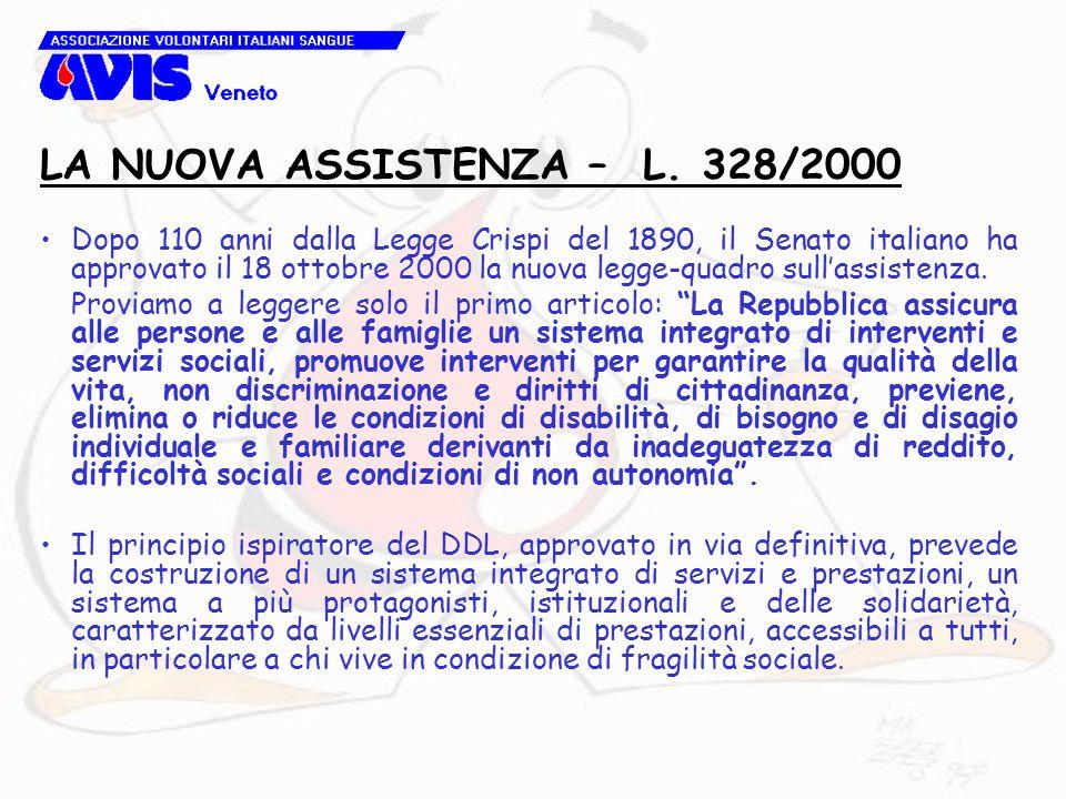 Dopo 110 anni dalla Legge Crispi del 1890, il Senato italiano ha approvato il 18 ottobre 2000 la nuova legge-quadro sull'assistenza. Proviamo a legger