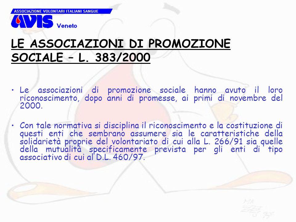 Le associazioni di promozione sociale hanno avuto il loro riconoscimento, dopo anni di promesse, ai primi di novembre del 2000. Con tale normativa si