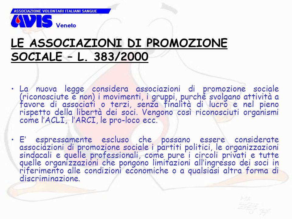 La nuova legge considera associazioni di promozione sociale (riconosciute e non) i movimenti, i gruppi, purché svolgano attività a favore di associati