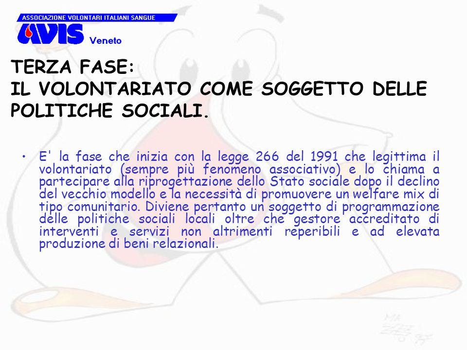 TERZA FASE: IL VOLONTARIATO COME SOGGETTO DELLE POLITICHE SOCIALI. E' la fase che inizia con la legge 266 del 1991 che legittima il volontariato (semp