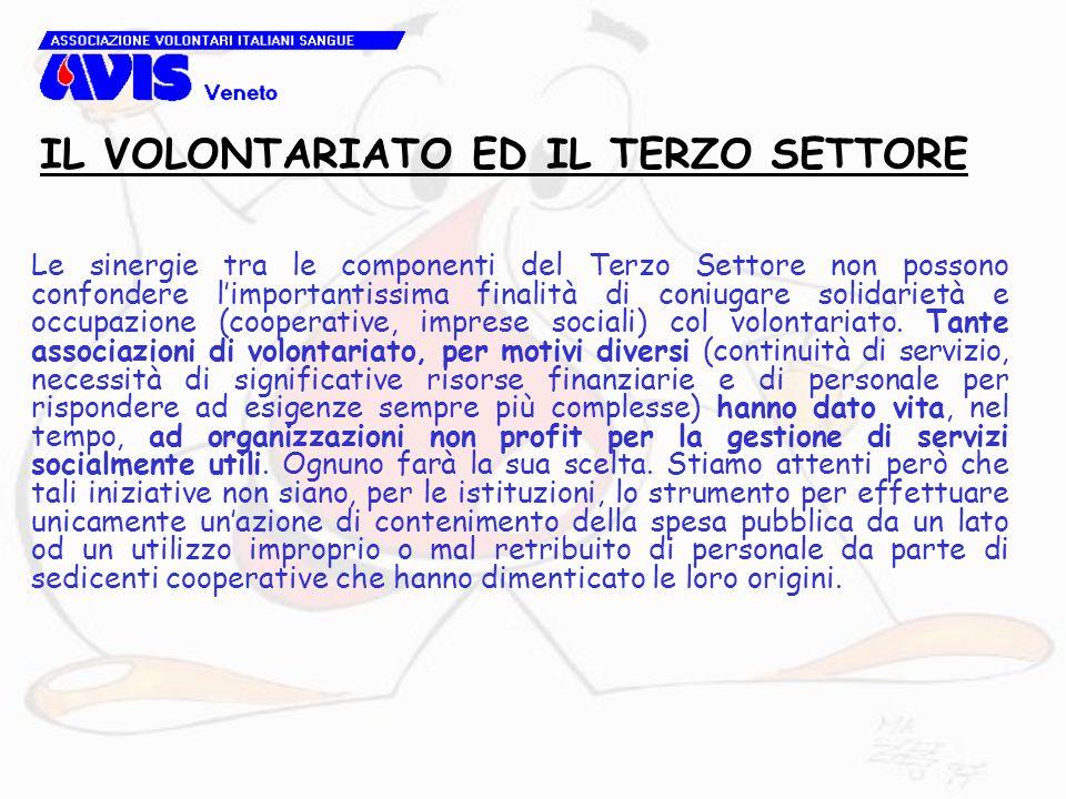 Le sinergie tra le componenti del Terzo Settore non possono confondere l'importantissima finalità di coniugare solidarietà e occupazione (cooperative, imprese sociali) col volontariato.