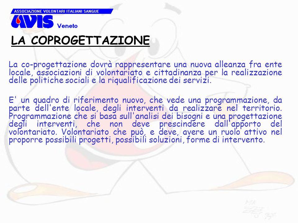 La co-progettazione dovrà rappresentare una nuova alleanza fra ente locale, associazioni di volontariato e cittadinanza per la realizzazione delle politiche sociali e la riqualificazione dei servizi.