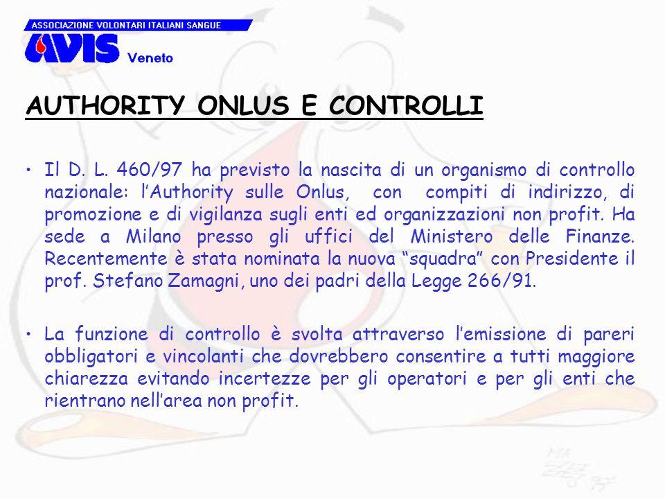 Il D. L. 460/97 ha previsto la nascita di un organismo di controllo nazionale: l'Authority sulle Onlus, con compiti di indirizzo, di promozione e di v