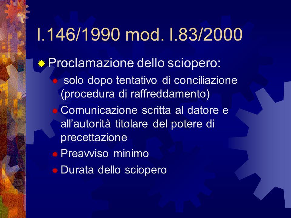 l.146/1990 mod. l.83/2000  Proclamazione dello sciopero:  solo dopo tentativo di conciliazione (procedura di raffreddamento)  Comunicazione scritta