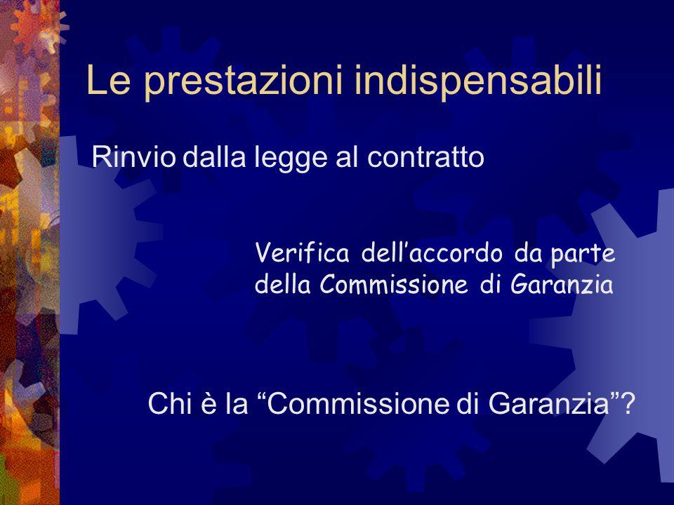 """Le prestazioni indispensabili Rinvio dalla legge al contratto Verifica dell'accordo da parte della Commissione di Garanzia Chi è la """"Commissione di Ga"""