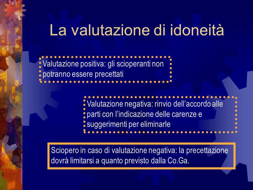 La valutazione di idoneità Valutazione positiva: gli scioperanti non potranno essere precettati Valutazione negativa: rinvio dell'accordo alle parti c