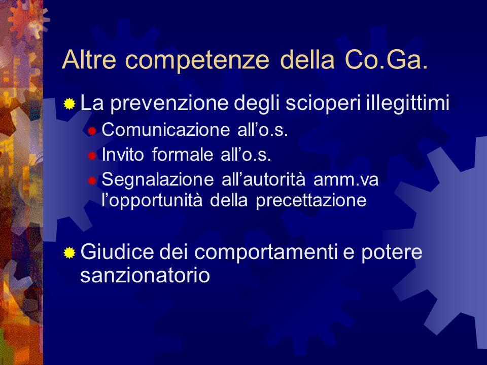Altre competenze della Co.Ga.  La prevenzione degli scioperi illegittimi  Comunicazione all'o.s.  Invito formale all'o.s.  Segnalazione all'autori