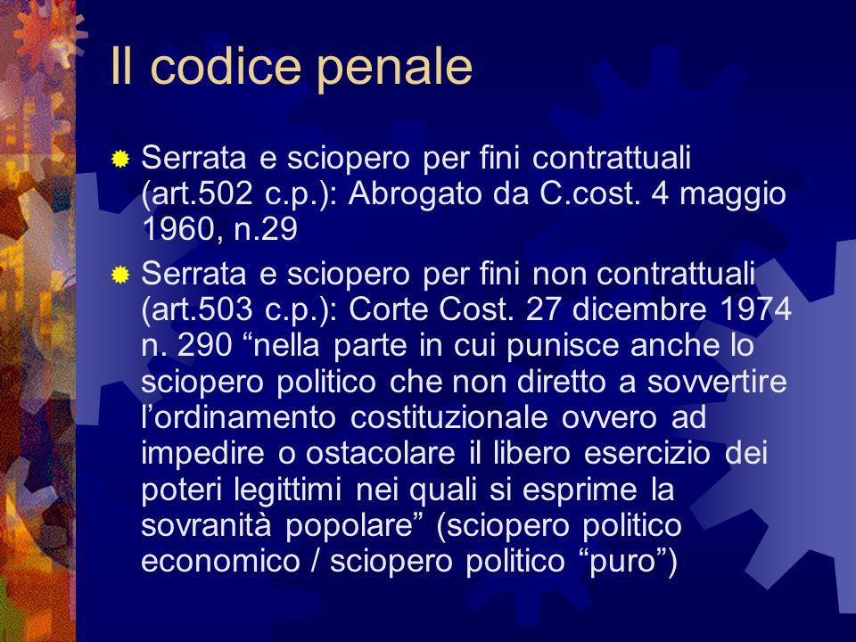 Il codice penale  Serrata e sciopero per fini contrattuali (art.502 c.p.): Abrogato da C.cost. 4 maggio 1960, n.29  Serrata e sciopero per fini non