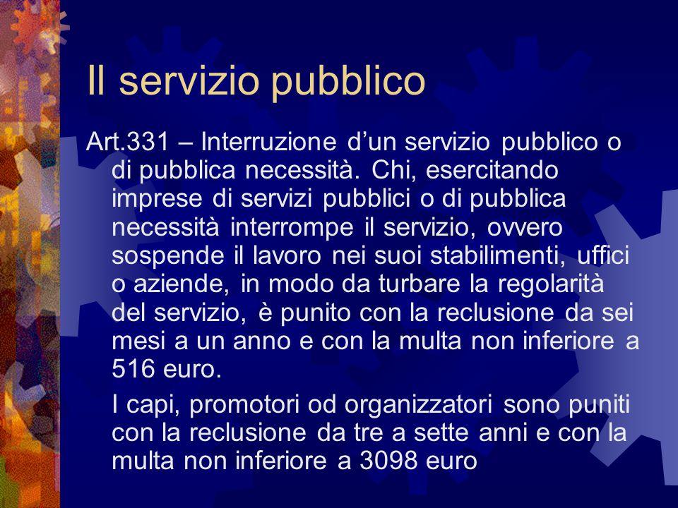Il servizio pubblico Art.331 – Interruzione d'un servizio pubblico o di pubblica necessità. Chi, esercitando imprese di servizi pubblici o di pubblica