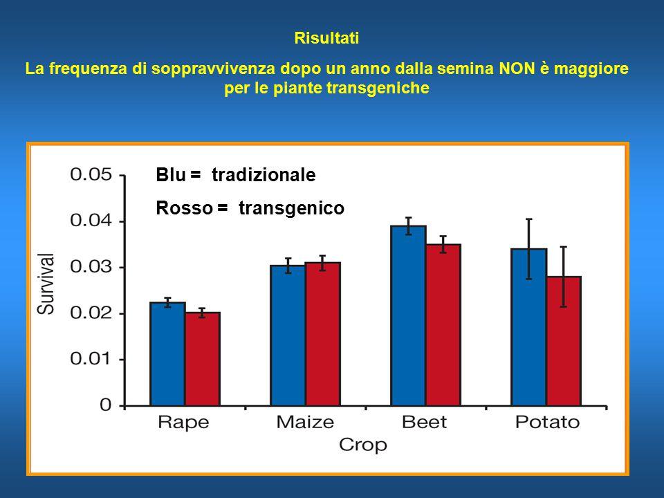 Blu = tradizionale Rosso = transgenico Risultati La frequenza di soppravvivenza dopo un anno dalla semina NON è maggiore per le piante transgeniche