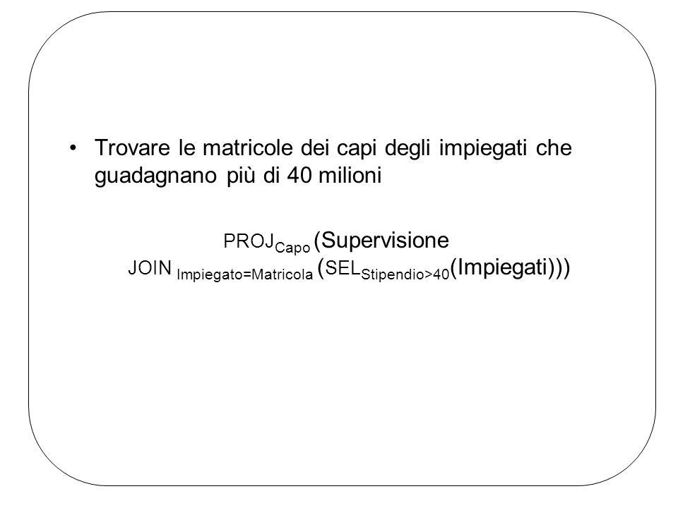 Trovare le matricole dei capi degli impiegati che guadagnano più di 40 milioni PROJ Capo (Supervisione JOIN Impiegato=Matricola ( SEL Stipendio>40 (Impiegati)))