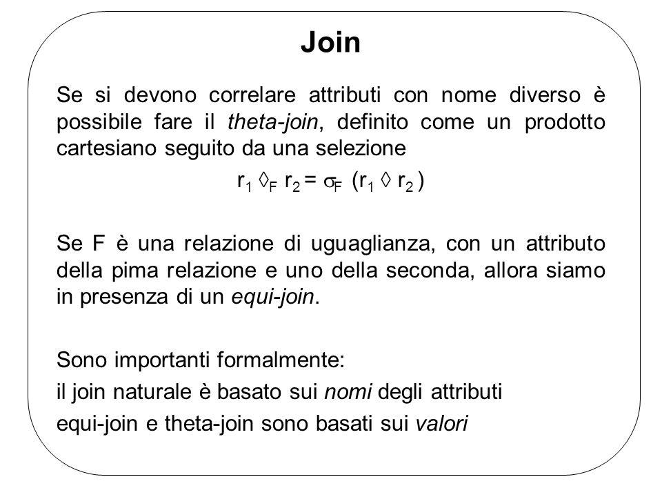 Join Se si devono correlare attributi con nome diverso è possibile fare il theta-join, definito come un prodotto cartesiano seguito da una selezione r 1  F r 2 =  F (r 1  r 2 ) Se F è una relazione di uguaglianza, con un attributo della pima relazione e uno della seconda, allora siamo in presenza di un equi-join.