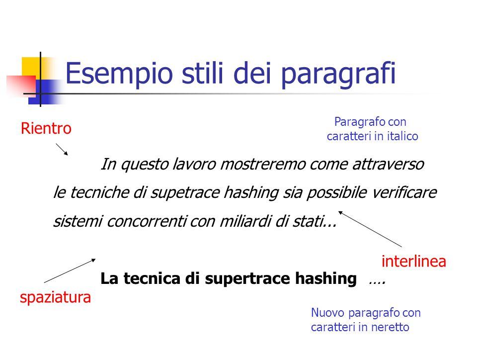 Esempio stili dei paragrafi In questo lavoro mostreremo come attraverso le tecniche di supetrace hashing sia possibile verificare sistemi concorrenti