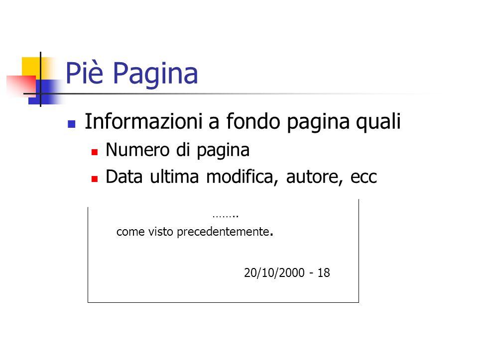 Piè Pagina Informazioni a fondo pagina quali Numero di pagina Data ultima modifica, autore, ecc …….. come visto precedentemente. 20/10/2000 - 18