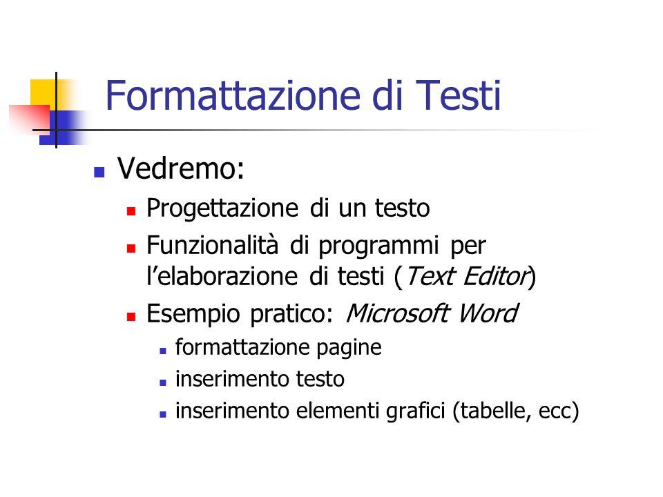 Formattazione di Testi Vedremo: Progettazione di un testo Funzionalità di programmi per l'elaborazione di testi (Text Editor) Esempio pratico: Microso
