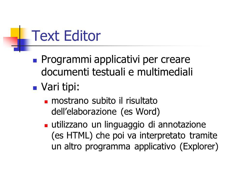 Text Editor Programmi applicativi per creare documenti testuali e multimediali Vari tipi: mostrano subito il risultato dell'elaborazione (es Word) uti