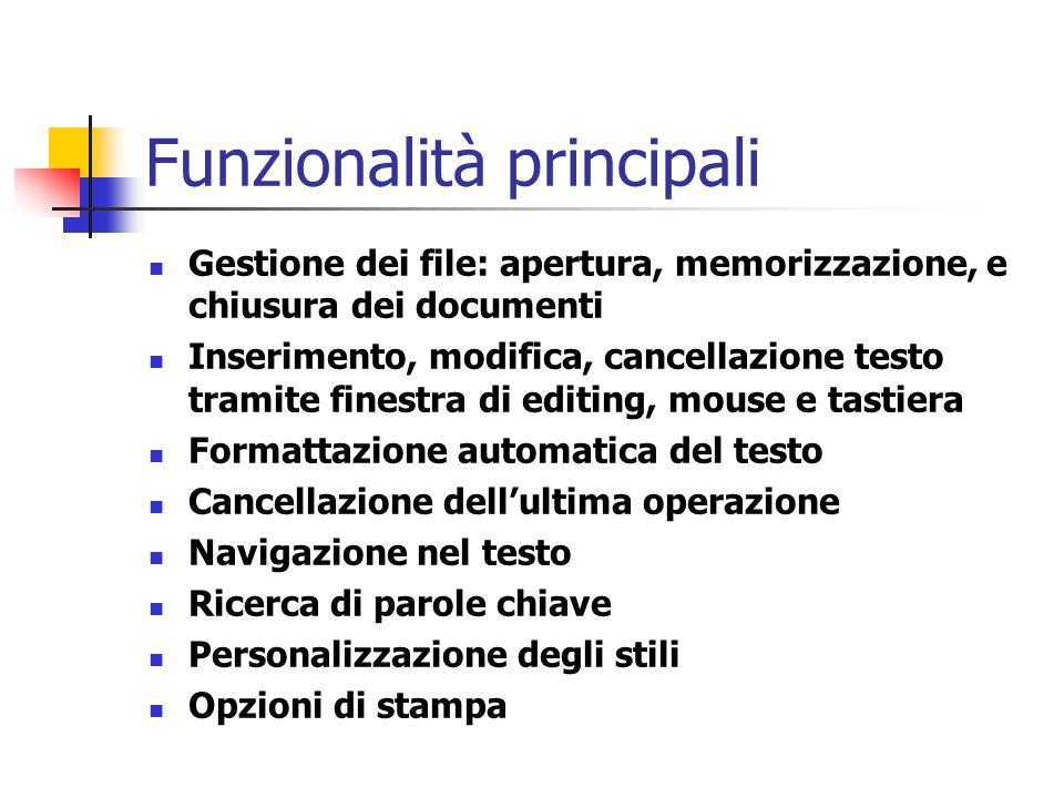 Funzionalità principali Gestione dei file: apertura, memorizzazione, e chiusura dei documenti Inserimento, modifica, cancellazione testo tramite fines