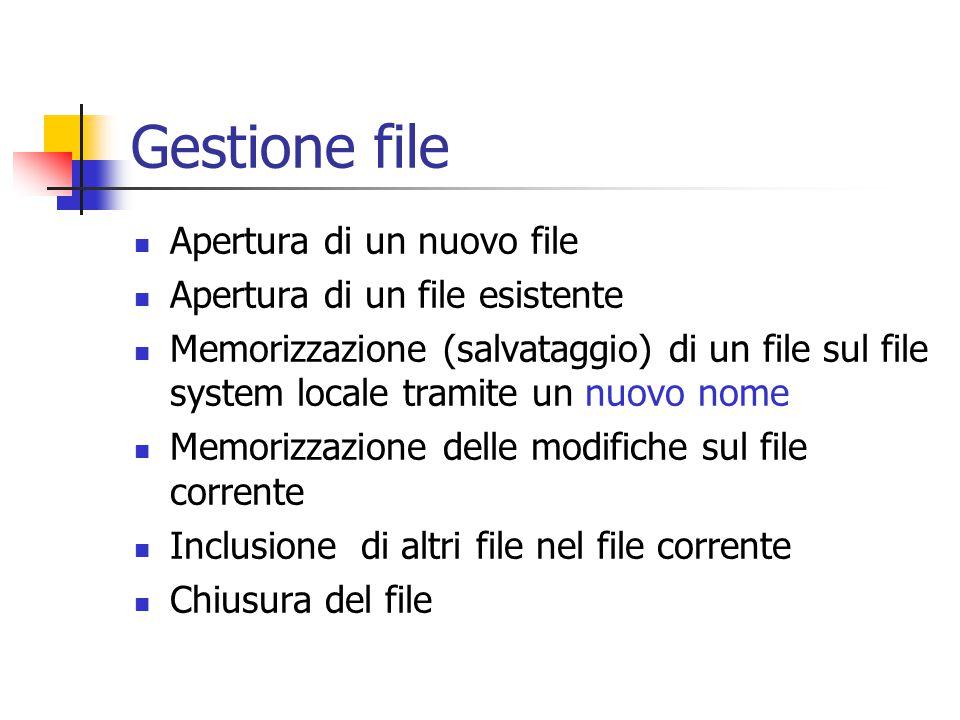 Gestione file Apertura di un nuovo file Apertura di un file esistente Memorizzazione (salvataggio) di un file sul file system locale tramite un nuovo