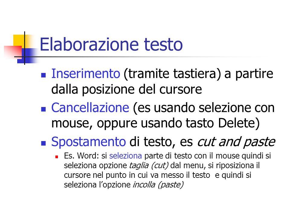 Elaborazione testo Inserimento (tramite tastiera) a partire dalla posizione del cursore Cancellazione (es usando selezione con mouse, oppure usando ta