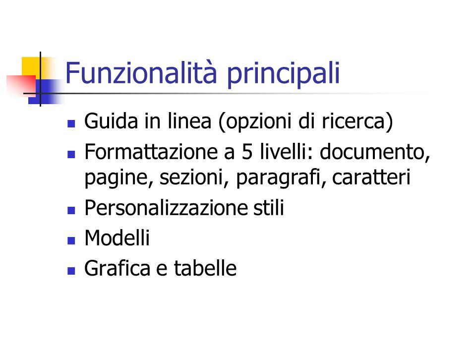 Funzionalità principali Guida in linea (opzioni di ricerca) Formattazione a 5 livelli: documento, pagine, sezioni, paragrafi, caratteri Personalizzazi