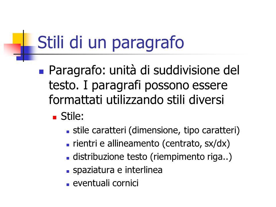 Stili di un paragrafo Paragrafo: unità di suddivisione del testo. I paragrafi possono essere formattati utilizzando stili diversi Stile: stile caratte