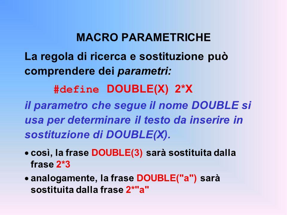 La regola di ricerca e sostituzione può comprendere dei parametri: #define DOUBLE(X) 2*X il parametro che segue il nome DOUBLE si usa per determinare il testo da inserire in sostituzione di DOUBLE(X).