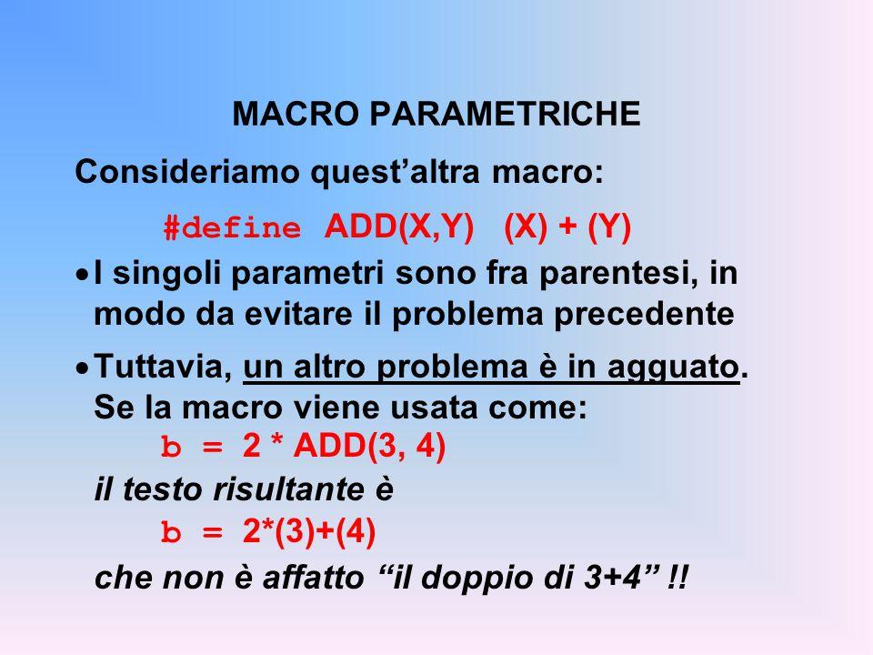 Consideriamo quest'altra macro: #define ADD(X,Y) (X) + (Y)  I singoli parametri sono fra parentesi, in modo da evitare il problema precedente  Tuttavia, un altro problema è in agguato.