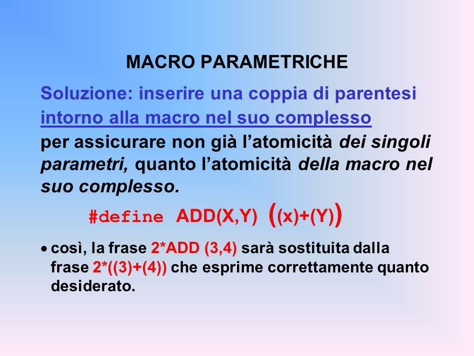 Soluzione: inserire una coppia di parentesi intorno alla macro nel suo complesso per assicurare non già l'atomicità dei singoli parametri, quanto l'atomicità della macro nel suo complesso.