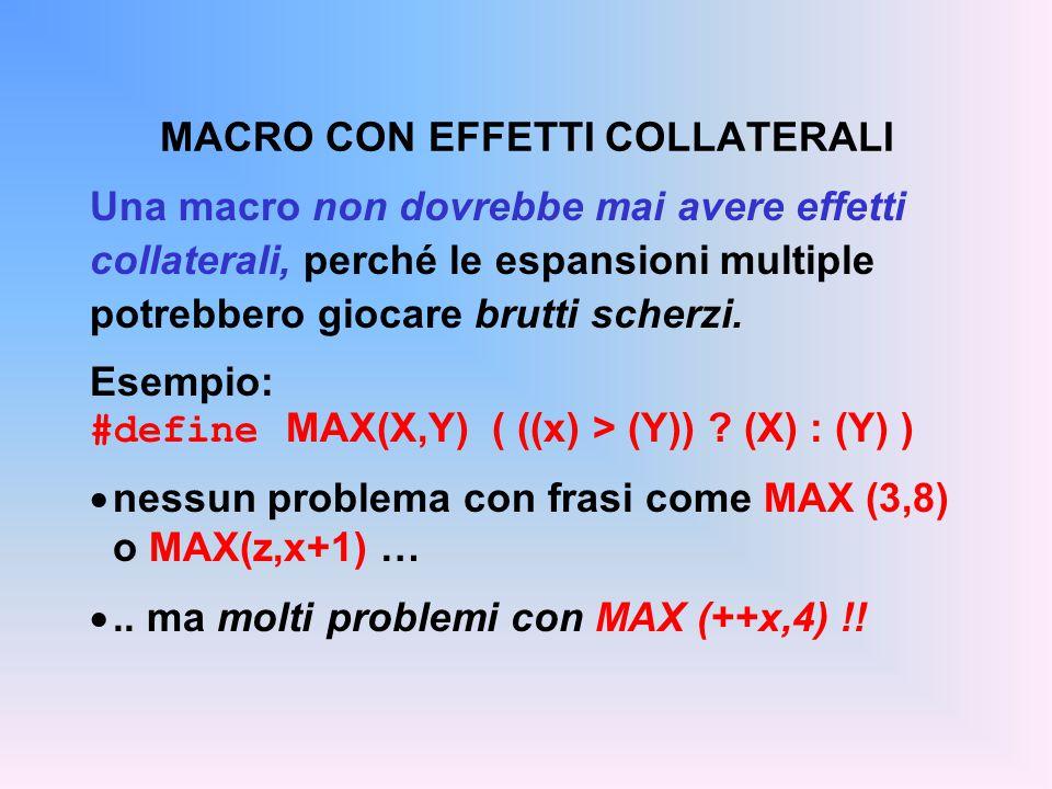Una macro non dovrebbe mai avere effetti collaterali, perché le espansioni multiple potrebbero giocare brutti scherzi. Esempio: #define MAX(X,Y) ( ((x